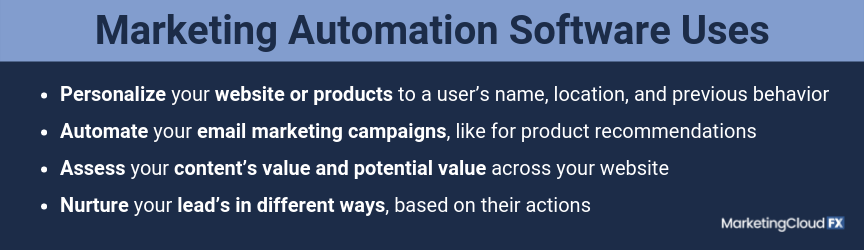 A list of marketing automation software uses