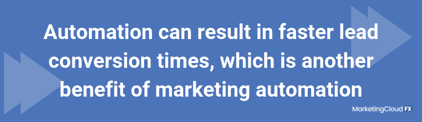Automation can result in faster lead conversion times, which is another benefit of marketing automation
