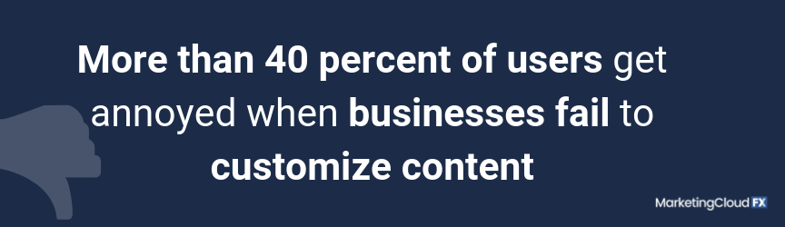More than 40 percent of users get annoyed when businesses fail to customize content